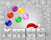 Weihnachtskarten mit silber wort xmas. — Stockvektor