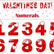 Romantic numbers with a heart. - Stock Vector