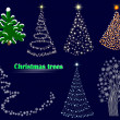 Seven christmas trees. — Vettoriali Stock