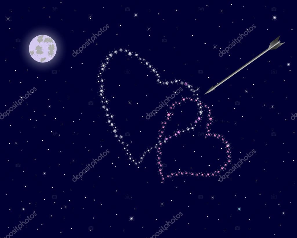 Valentine's day. The night sky with two hearts of stars and an arrow. Vector illustration. — Stock Vector #8335777
