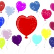 Balloons in the shape of heart. — Vettoriali Stock