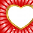 Gold frame in the shape of heart. — Stock Vector