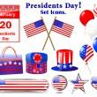 ikony na dzień prezydentów — Wektor stockowy  #8471092