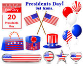 Icons for of the Presidents day. — Vecteur