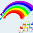 Rainbow paint roller with pots of paint. — Stock Vector