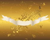 Ribbon with grunge floral background. — Vector de stock
