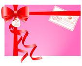 Cadeau met een wenskaart. — Stockvector
