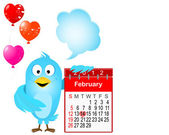 Blue bird with an icon of a calendar for February, 2012. — 图库矢量图片