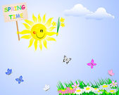 "Smiling sun with a signboard ""Spring time."" — Vector de stock"