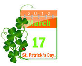 Icon of a calendar of day St Patrick and leaves of a clover. — ストックベクタ