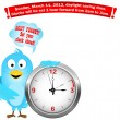 Daylight saving time begins. Blue Bird. - Imagens vectoriais em stock