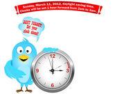 Horario comienza. pájaro azul. — Vector de stock