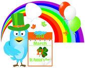 Blue Bird in a green hat with icon a calendar. — Stock Vector