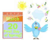First Day of Spring. Calendar and blue bird. — Vector de stock