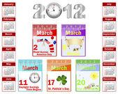 Kalender voor 2012. — Stockvector