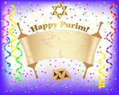Purim background with Torah scroll. — Stockvector