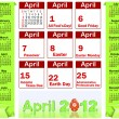Holiday icons calendars for April 2012. — Stock Vector