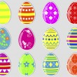 Stock Vector: Easter eggs stickers.