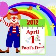 April fools' day. Cute clown. — Stok Vektör