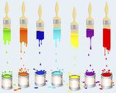 Burkar av färg och platt penslar. — Stockvektor
