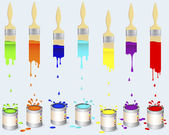 Tins of paint and flat brushes. — 图库矢量图片