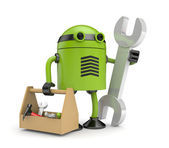 Robot with toolbox — Stock Photo