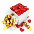 Opened box filled heart valentine day concept — Stock Photo
