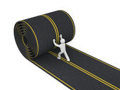 3d person paves road — Stock Photo