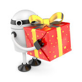 Robot with gift box — Stock Photo