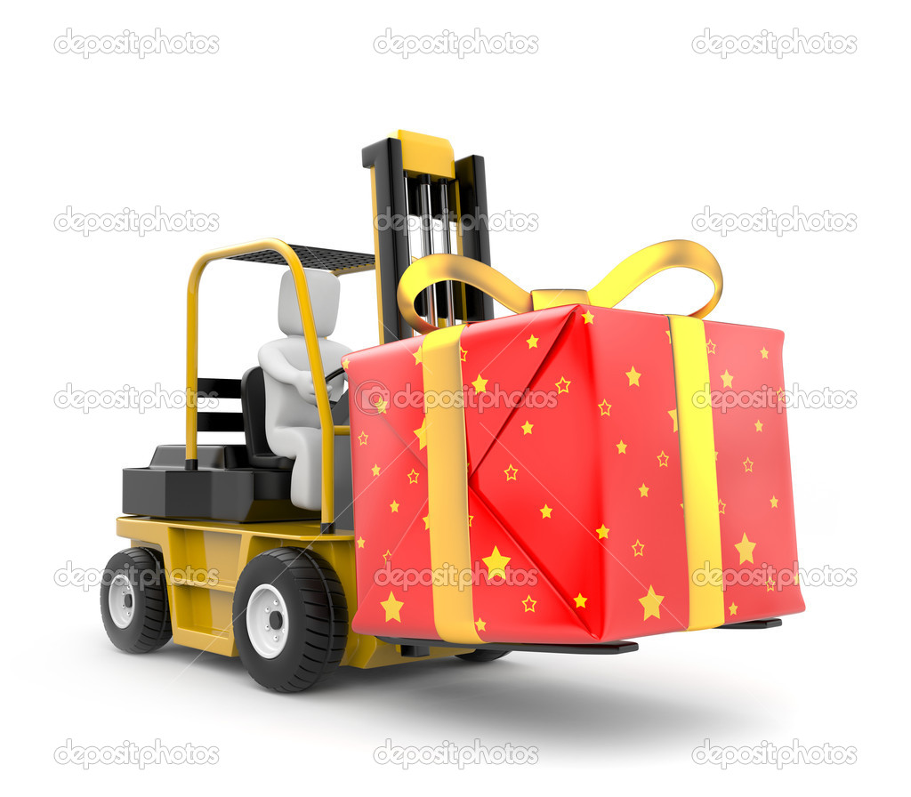 Compartment Of A Fork Lift : Forklift with gift box — stock photo pixelery