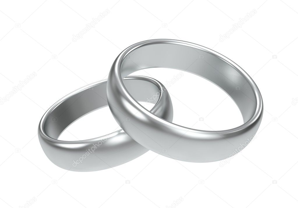 Silver wedding rings on white background — Stock Photo #8343964