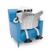Robot read newspaper — Stock Photo