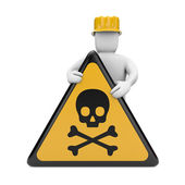 Person with danger skull sign — Stock Photo