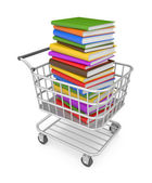 Shopping cart with book — Stok fotoğraf
