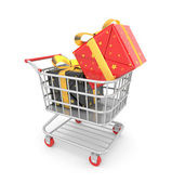 Shopping cart filled by gift — Stock Photo