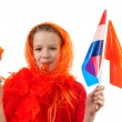 Stock Photo: Girl is posing in orange outfit for soccer game