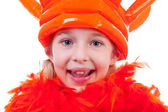 Girl with big orange crown — Stock Photo