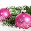 Two pink chrismas balls — Stock Photo #7970170