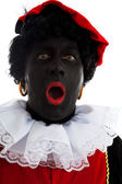 Portrait of surprised Zwarte piet ( black pete) — Stock Photo