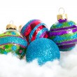 Stock Photo: Colorful glitter Christmas balls