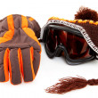Stock Photo: Ski goggles, hat and gloves