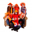 Group of Dutch soccer fan watching game — Stock Photo