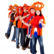 Group of Dutch soccer fans in polonaise — Stock Photo #8140740