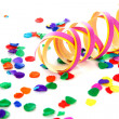 Colorful confetti and party streamer — Stock Photo