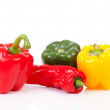 Various paprika over white background — Stock Photo
