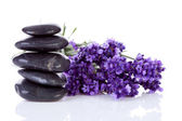 Stacked black pebbles stones and lavender flowers — Foto de Stock