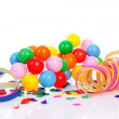 Colorful confetti, balloons and party streamers — Stock Photo #9457040