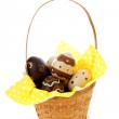 Cane basket with easter eggs — Stock Photo