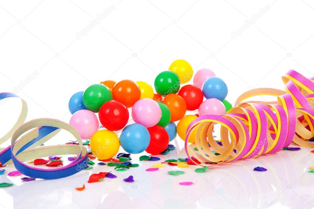 Garlands streamer party hats confetti stock