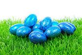 蓝色巧克力复活节蛋在草地上 — 图库照片
